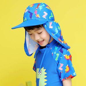 Kids Children Summer UPF 50+ UV Protection Outdoor Beach Sun Hat Neck Ear Cover Flap Cap Adjustable Kids Dinosaur Cap