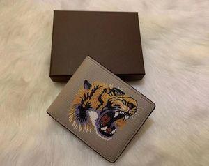 6 colores de alta calidad los hombres de los animales a corto billetera de cuero negro de serpiente tigre abeja carteras mujer Estilo monedero Los titulares de tarjeta de bolsillo con caja de regalo