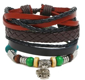 woman Man cowhide Leather Bracelet DIY hand woven alloy owl Pendants Multilayer Wood Bead Combination suit Bracelet 3styles 1set