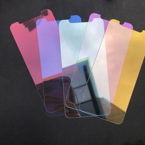 pour iPhone xr xs max Miroir en verre trempé Film de protection écran avant coloré pour iPhone X XS Sans emballage B