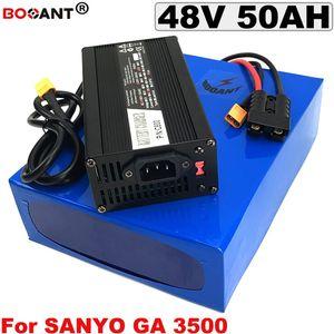Batería de litio de 48V 50AH E-bike para Sanyo 18650 cell Batería de iones de litio de bicicleta eléctrica 48V para 1500W 3000W Motor con cargador 5A