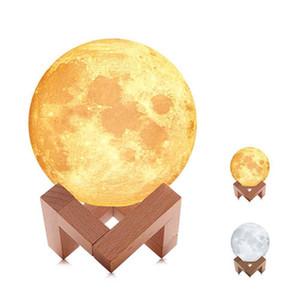 Standı ile 3d ay ışığı usb şarj edilebilir gece lambası Mehtap lamba 2 renk dokunmatik anahtarı Ev Dekor yaratıcı hediyeler