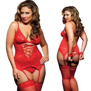 S M XL 3XL 4XL 5XL 6 XL Plus Size Lingerie Mulheres Lingerie Sexy Hot Erotic Baby doll Lingeries Sexy Garter cintos