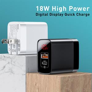Nuevo producto US Plug 18 W cargador USB C PD carga rápida cargador de pared carga rápida 3,0 puertos USB duales cargador con Digital Displa
