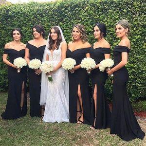2020 Vintage Off The Shoulder Satin Mermaid Long Bridesmaid Dresses Ruched Split Sweep Train Wedding Guest Maid Of Honor Dresses