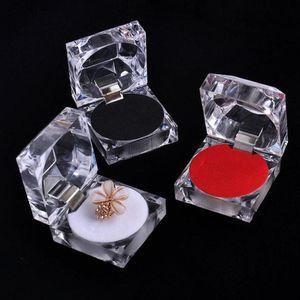 Elegante 4,5 * 4,5 centímetros portátil de acrílico transparente Anéis Brinco de exibição de jóias Box Wedding Package Box NO215