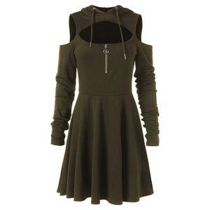 Mode épaule froide femmes robes épaule ouverte manches longues à capuche Swing à capuche robe plus la taille vêtements robe femme vente chaude