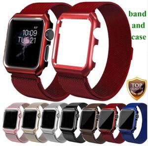 Milanese Loop Strap + Estuche para la banda de reloj de Apple 42mm 38mm 44mm 40mm Pulsera de eslabones de pulsera de acero inoxidable iwatch 4 3 2 1