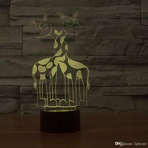 Doppel Giraffe 3D-Illusion Nachtlicht, Touch-7 Farbwechsel, Inneneinrichtungen Baby-Jungen-LED-Lampe chlid Geburtstags-Geschenk Weihnachten Weihnachtsgeschenk