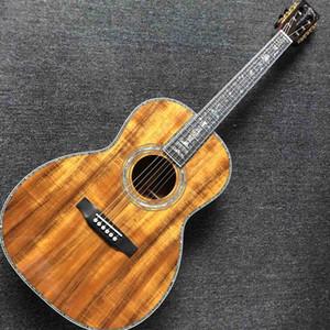 Custom Solid KOA Wood Acoustic Guitar Ebony Fingerboard KOA Back Side Abalone Inlay With Pickup Electronic Fishman EQ Free Shipping