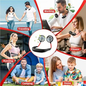 Fan Parti Favor 60pcs OOA8109 Asma El Ücretsiz Fan Spor Taşınabilir USB Şarj edilebilir İkili Mini Hava Cooler Yaz Boyun