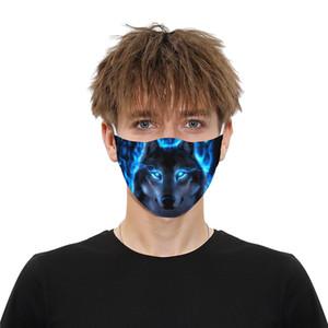 En stock impression chat loup masque visage extérieur masques partie Spot PM2. 5 coton bouche visage masque amovible filtre animal masque + 2 pcs Filtre