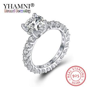 YHAMNI 100% reale 925 Sterlingsilber-Ring 2.0CT 8MM Klassische Erstellt Moissanite Hochzeit Verlobungsringe Schmuck für Frauen JZ325