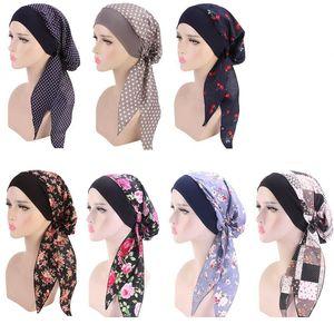 7 color Women Turban Hat Muslim Hijab Flower Printed Turban Cap Cover Head Scarf Wrap Headwear Strech Bandana