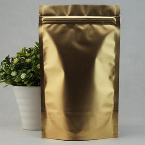 100PCS Matte imprimé aluminium or feuille sac ziplock autoporteur, sac de grains de café, sac