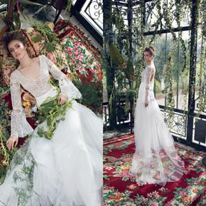 Limor Rosen 2020 Bohemian Tassel Wedding Dresses A Line V Neck Lace Long Sleeve Bridal Dress Boho Sweep Train Tulle Bridal Gowns