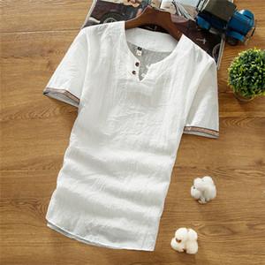Mens Plus Size Lin T-shirt d'été ronde Casual manches courtes cou en vrac T-shirt Homme T-shirts Respirant