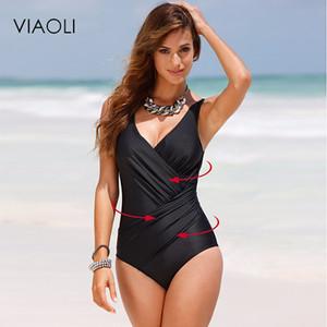 VIAOLI 2018 новый цельный купальник женщины плюс размер купальники Ретро старинные купальники пляжная одежда печати купальники монокини 5XL
