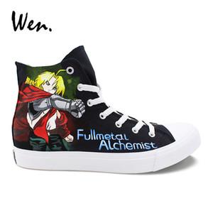 Wen El Boyalı Ayakkabı Metal Simyacı'nın Anime Tasarımcılar Sneakers Kadınlar Yüksek Top Erkekler vulcanize Ayakkabı Canvas plimsolls Eğitmenler