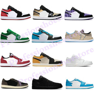 Jumpman 1 Low Basketball Shoes Running shoes Jumpman basse 1 1s basket top OG giudiziali punta nera viola SP Travis Scotts uomini donne scarpe da tennis Eur 36-46 senza scatola