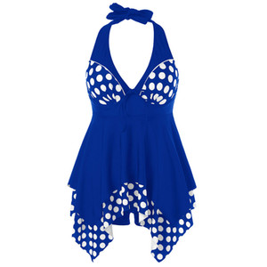 AZULINA Plus Size Tankini Backless Swimsuit Polka Dot Bathing Suit Women Swimwear Tankini Large Size Swimming Beachwear Femme