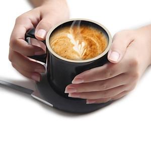 Kablosuz Şarj 55 ° C Termos Kupa Elektrik Cup Coffee Cup Japon Stili Kupalar Seramik Kahve Kupa ile Saucer Drinkware Seti