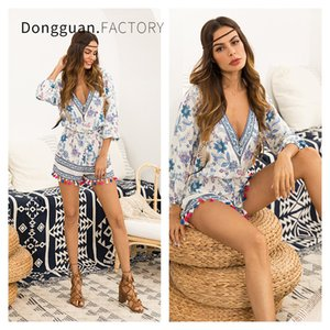 Girl Long Sleeve Lady Autunno Plus Size Stampa Even Party Dress Tuta per donna Casual Pagliaccetti Bianco Moda blu Breve Nappa