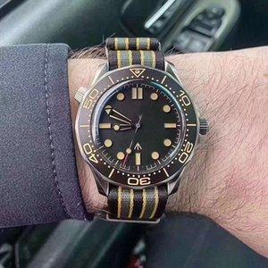 Новый стиль высокое качество VS автоматический механизм 007 часы мужчины черный циферблат нейлон группа мужские часы Montre Homme