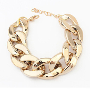 New Fashion Jewelry Chunky Chain Bracelets Gold Silver Gun Black Plated Concise All-match Bracelets For Women