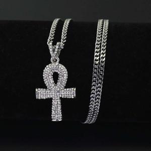 Hip hop Anka erkekler için çapraz elmas kolye kolye Dini altın gümüş lüks kolye Paslanmaz çelik Küba zincir Hıristiyan takı