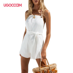 UGOCCAM Pantaloni corti tuta One Piece Set Bianco Playsuits Beach casuale pagliaccetti Sleeveless sexy Tuta allentata Lace up tuta