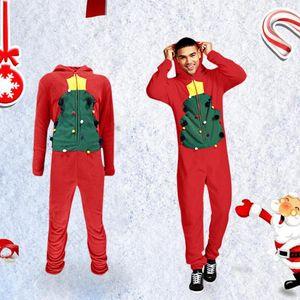 2019 Natal dos homens de uma peça de vestuário Pajama Playsuit Zipper Hoodie masculino Onesie Camuflagem Imprimir Jumpsuit Streetwear Macacões