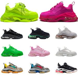 Diseñador de Triple S zapatos casuales de cuero de los hombres verde Triple S zapatilla de deporte de las mujeres zapatos casuales-top con cordones de los zapatos planos ocasionales con Clear Sole
