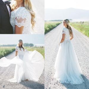 겸손한 새로운 해변 Boho 웨딩 드레스 2019 반바지 플러스 사이즈 신부 가운 보헤미아 웨딩 가운 vestido de novia