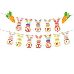 Buona Pasqua Coniglio striscione colorato coniglio di coniglietto palloncino gonfiabile dell'elio Foil Palloncino Lattice Balloon Party Favors Easter Decoration