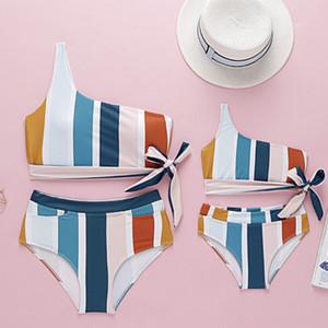 şerit çocuklar omuz mayo çiy tek F7202 Beachwear kızı mommy renkli Kız mayo bebek Fiyonk bikini mayo çocuklar