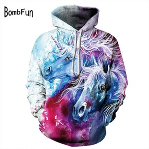 BombFun Men Hoodie 3d Hoodies Unicorn Print Hoody Punk Loose Skull Sweatshirts Women&Men Hooded Pullovers Tops Plus Size Coat