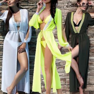 Mulheres Sexy Chiffon Kimono Cardigan Sexy Bikini Beach Cover Up Maxi Vestido