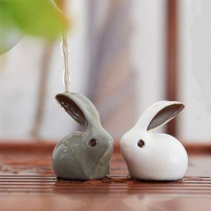 Geyao Rabbit Tea Pet Ornaments Tea Favor Creative Zodiac mini Home Decor Ornaments Ceramic Decoration