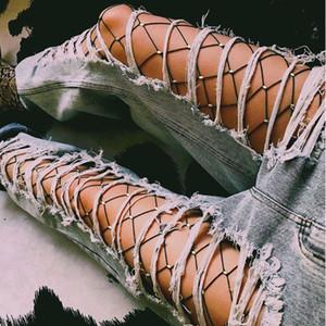 Mulheres Cristal Rhinestone Arrastão Meias Elásticas Grandes Peixe Net Collants Meia-calça