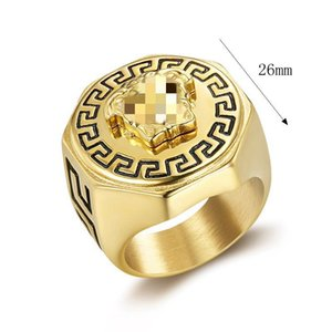 Greek Mythology Figures Titanium Steel Hip Hop Ring Men WomenFashion Band Rings Jewelry Gifts Fashion Accessories Wide Gold Color