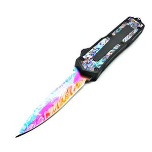 scarabée noir ormeau motif poignée 9 modèles double action couteau de pliage edc tactique d'autodéfense couteaux de chasse couteau de camping outil de poche
