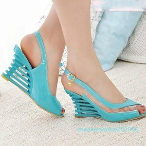 2020 Women Sandals Ladies Back Strap Buckle Belt Fish Mouth Wedge Heel High Sandals Fashion Women Shoes High quality s06