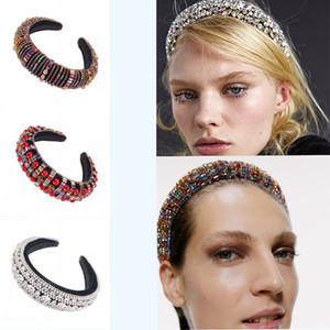 فرق موضة جديدة حجر الراين الشعر كامل اللون الماس مبطن الإسفنج العصابة على نطاق واسع المخملية متعددة الألوان كريستال الشعر Hairband OWE550