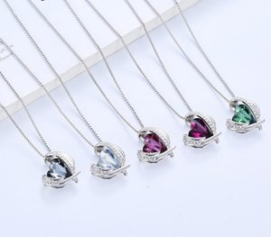 2020010971 18K White Rose Gold Necklaces for Mother's Day Jewelry Gifts for Women Heart Pendants Embellished with Crystals Birthstone