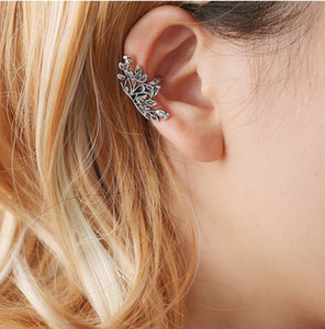 Takı Kulak Klip Kelepçe Kızlar / Bayanlar Için Lotus Antik Gümüş Altın Sesi Kulak Manşet Küpe Kulak Paletli Tırmanıcı