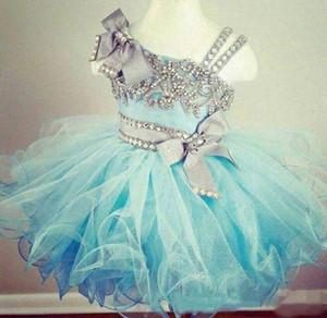 2020 Nouveau Puffy cristal perlé Glitz Cupcake Pageant robes en organza volantée bleu clair robe de bal enfant en bas âge Little Girls Birthday Party Dress
