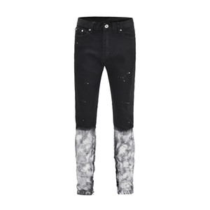 FOG Homens High Street Hip Hop Painéis Branco inferior magro Slim Fit Vintage Ripped Black Denim Jeans