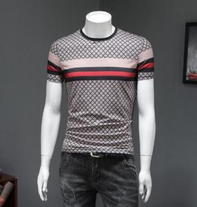 Европейский вокзал мужской 2019 летом новая мода печати с короткими рукавами футболки молодежной шею Slim Slim корейской версии Tide T