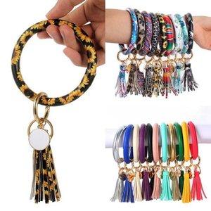 PU Leather Bracelet Keychain Sunflower Leopard Wristlet Key Ring Tassel Bangle Keychain Pendant Fashion Accessories OOA8139